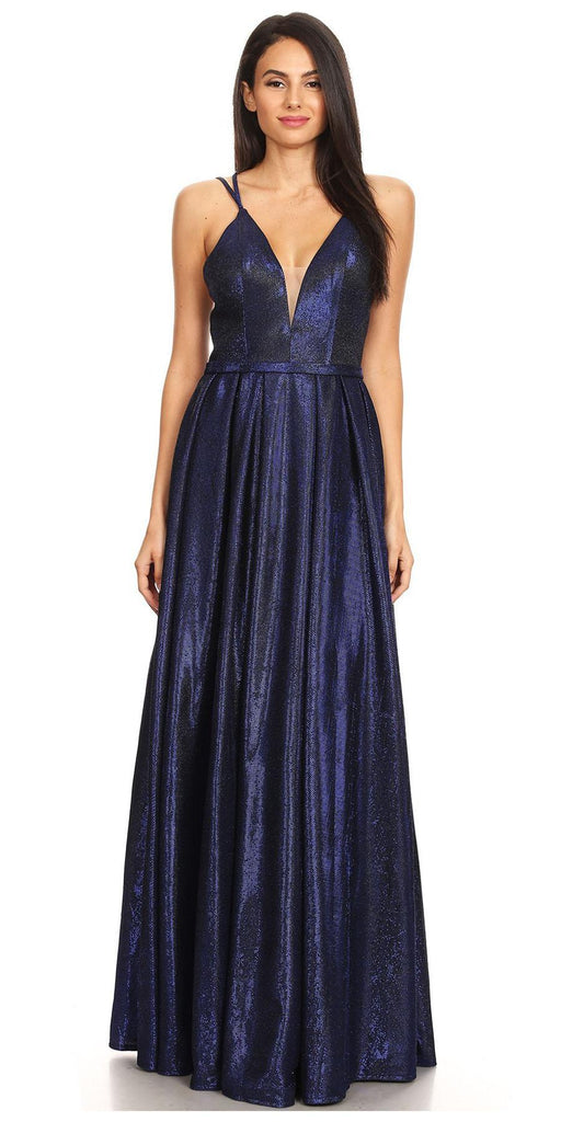 Royal Blue Metallic Long Prom Dress with Deep V-Neck