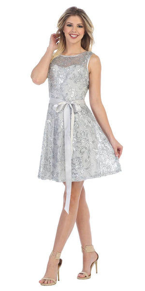 Sleeveless Short Lace Dress in Silver with Bow Sequin Detail