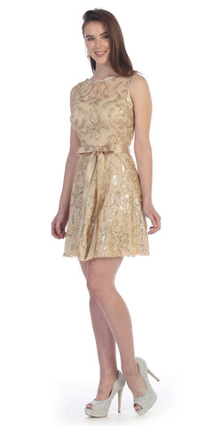 Sleeveless Short Lace Dress in Gold with Bow Sequin Detail