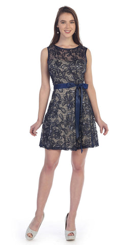 Sleeveless Short Lace Dress in Navy Blue/Gold with Bow Sequin Detail