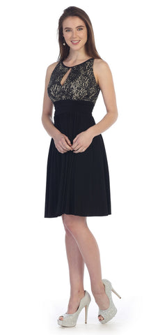 Knee Length Empire Sleeveless Dress Black/Gold Lace/Sequin Top