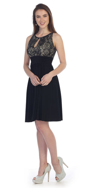 Knee Length Empire Sleeveless Dress Black Gold Lace/Sequin Top