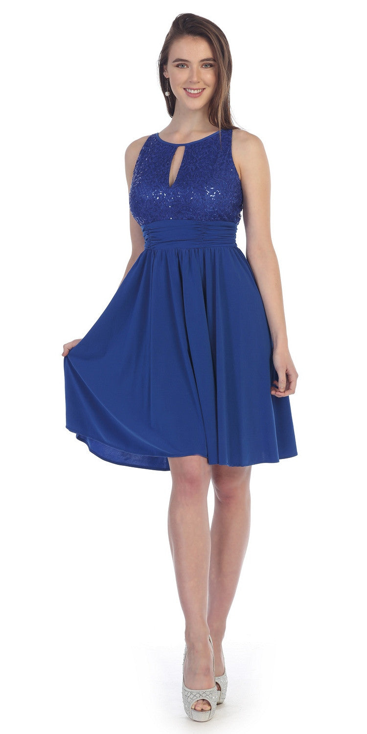 Knee Length Empire Sleeveless Dress Royal Blue Lace/Sequin Top