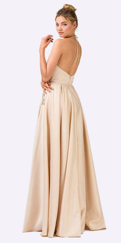 Champagne Halter Long Prom Dress With Pockets