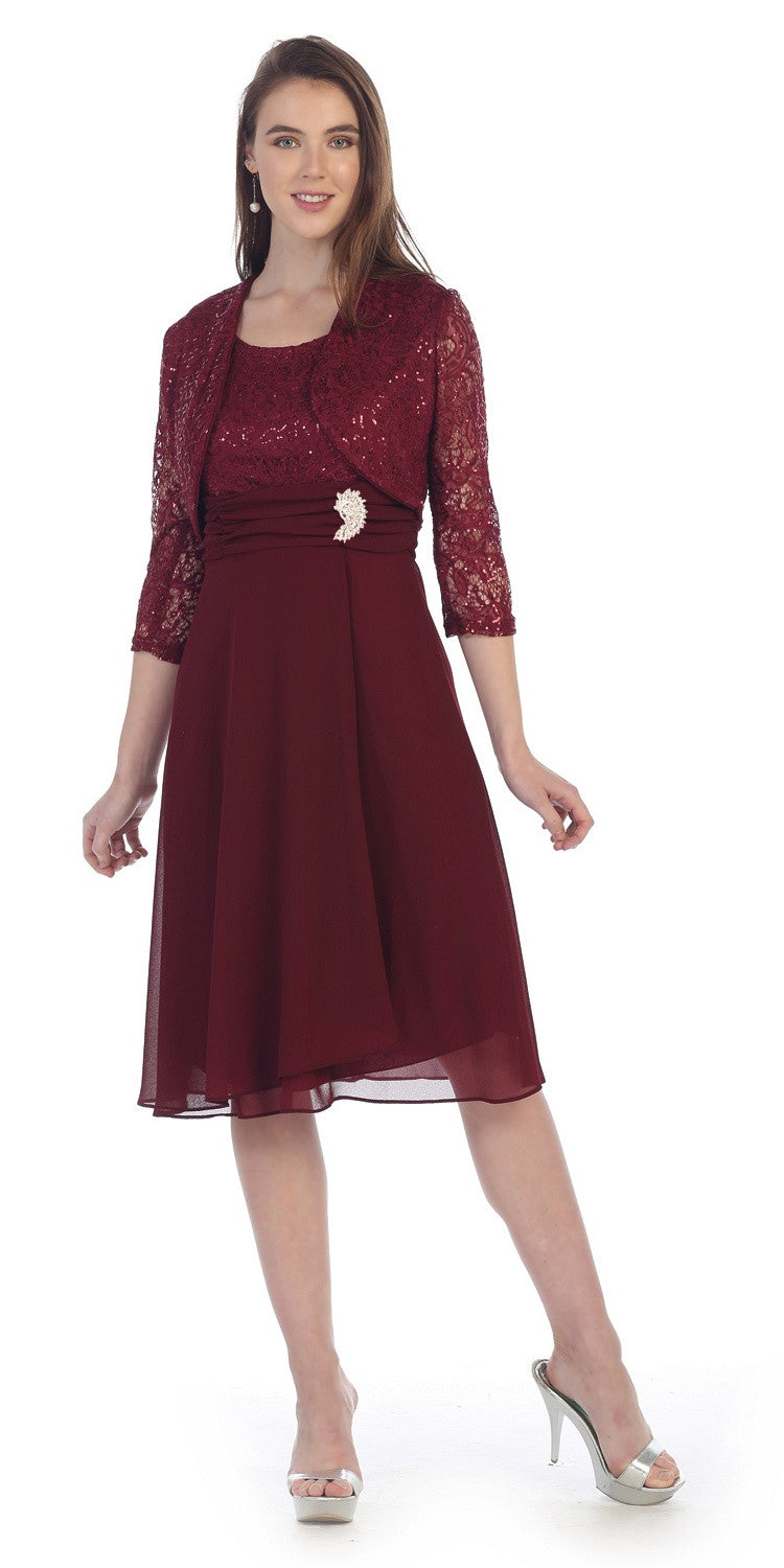 Knee Length Lace Top Dress Burgundy Matching Bolero A Line