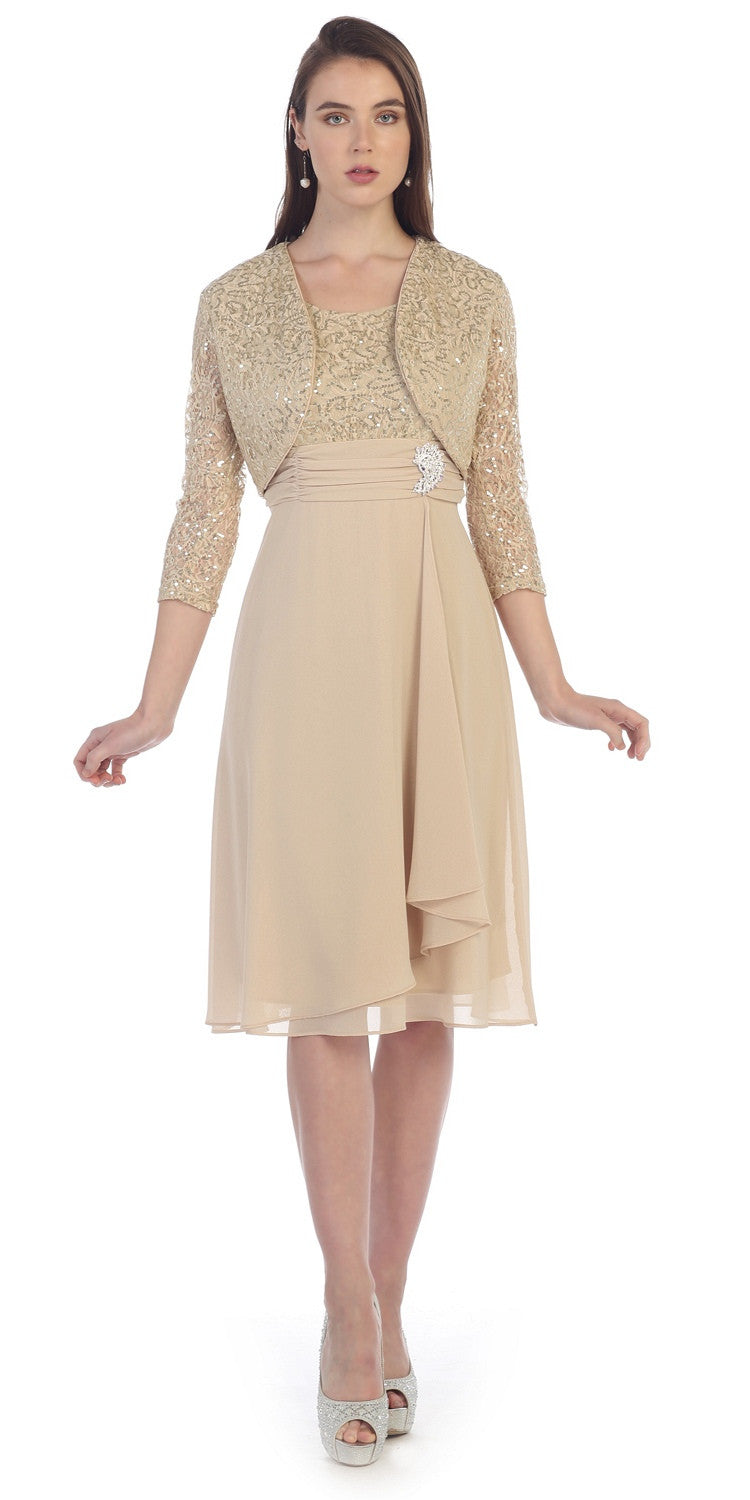 Knee Length Lace Top Dress Khaki Matching Bolero A Line