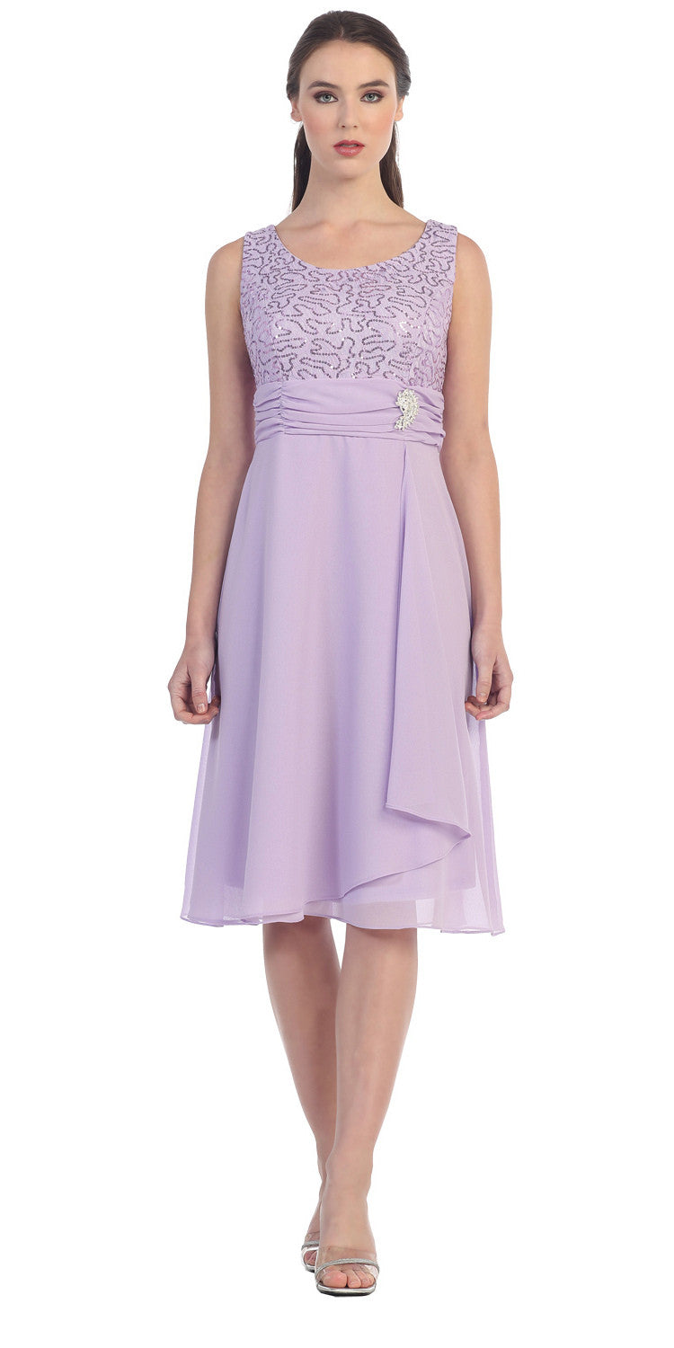 Knee Length Lace Top Dress Lilac Matching Bolero A Line