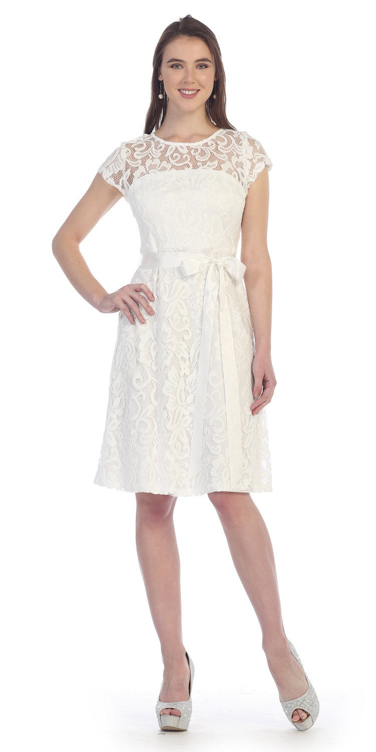 Knee Length Short Sleeve Lace Dress Off White Ribbon Bow
