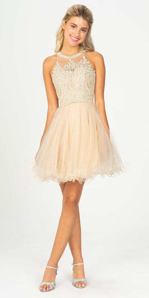 Champagne Halter Homecoming Short Poofy Dress