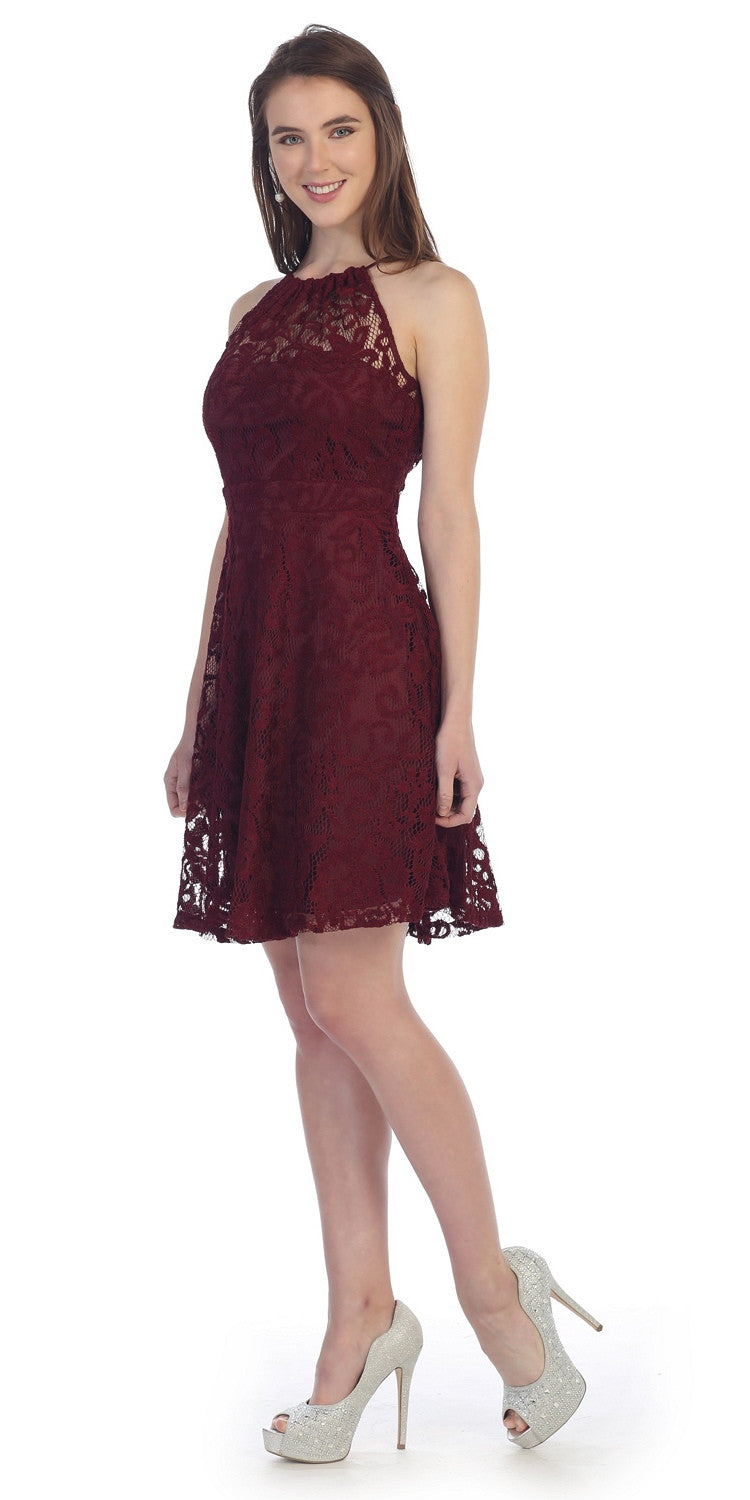 Little Burgundy Lace Cocktail Dress Halter Strap