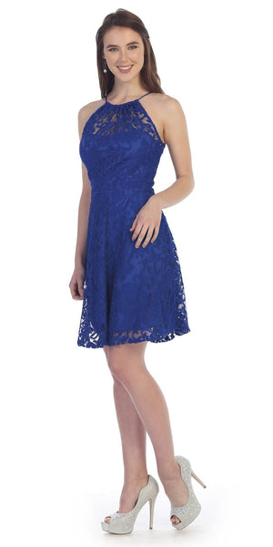 Little Royal Blue Lace Cocktail Dress Halter Strap