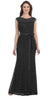 Lace Bridesmaid Dress Black Long Cap Sleeve Ribbon Waist
