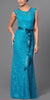 Lace Bridesmaid Dress Teal Long Cap Sleeve Ribbon Waist
