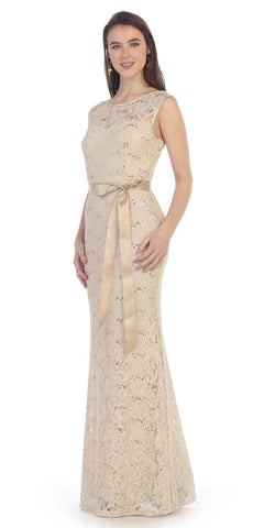 Lace Bridesmaid Dress Khaki Long Cap Sleeve Ribbon Waist