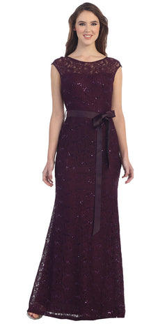 Lace Bridesmaid Dress Plum Long Cap Sleeve Ribbon Waist