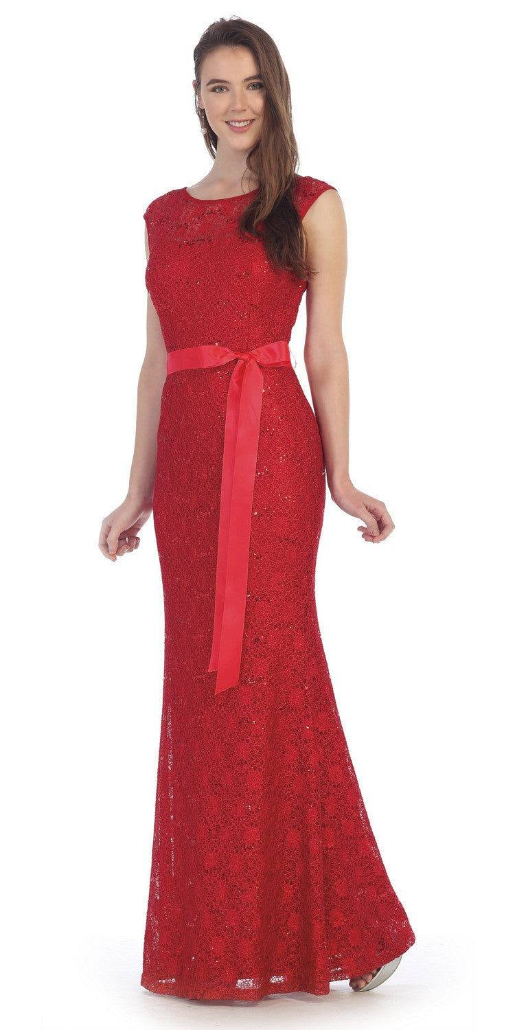 Lace bridesmaid dress red long cap sleeve ribbon waist for Wedding dress with red ribbon on waist