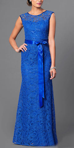 Lace Bridesmaid Dress Royal Blue Long Cap Sleeve Ribbon Waist