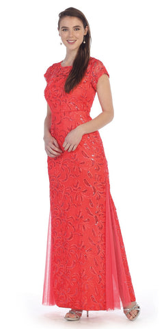 Coral Lace Godet Sequins Long Formal Dress Illusion Short Sleeve