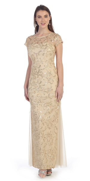 Gold Lace Godet Sequins Long Formal Dress Illusion Short Sleeve