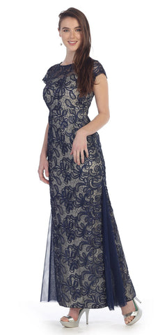 Navy/Gold Lace Godet Sequins Long Formal Dress Illusion Short Sleeve