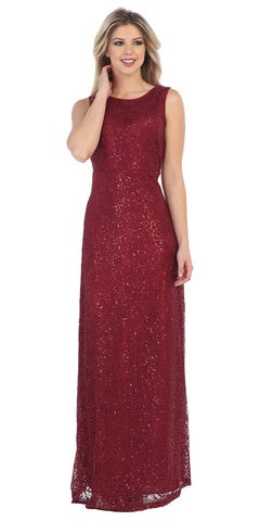 Burgundy Long Formal Dress Round Neck Sleeveless