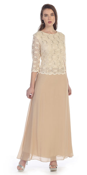 Three Quarter Sleeves Lace Top Chiffon Skirt Gold Formal Dress