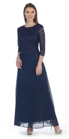 Three Quarter Sleeves Lace Top Chiffon Skirt Navy Blue Formal Dress