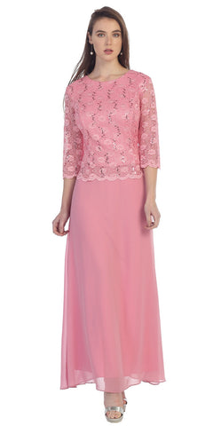 Three Quarter Sleeves Lace Top Chiffon Skirt Rose Formal Dress