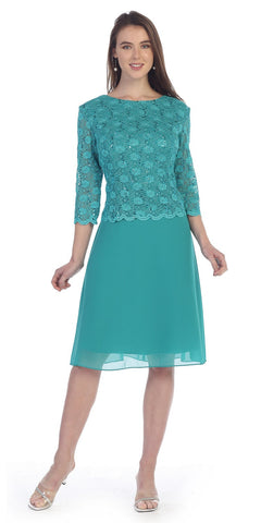 Jade Mid-Sleeve Lace Bodice Chiffon Skirt Short Cocktail Dress