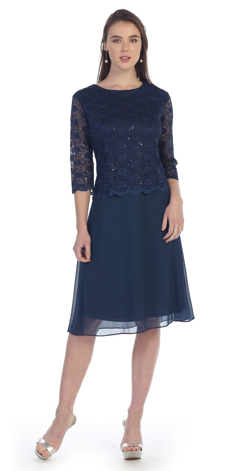 Navy Blue Mid-Sleeve Lace Bodice Chiffon Skirt Short Cocktail Dress ...