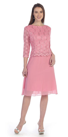 Rose Mid-Sleeve Lace Bodice Chiffon Skirt Short Cocktail Dress