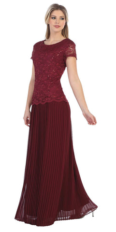 Short Sleeves Long Formal Dress Pleated Skirt Burgundy