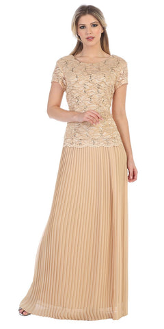 Short Sleeves Long Formal Dress Pleated Skirt Gold