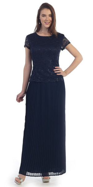 Navy Blue Lace Short Sleeve Top Chiffon Pleated Skirt Formal Dress