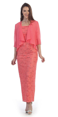 Sequins Lace Fitted Formal Dress with Mid-Sleeve Bolero Coral