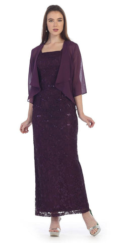 Sequins Lace Fitted Formal Dress with Mid-Sleeve Bolero Plum