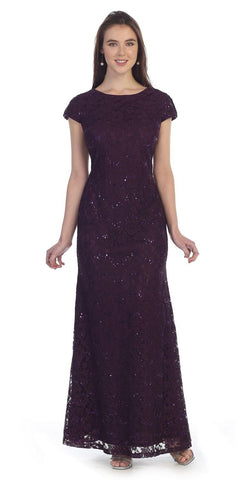Plum Short Sleeve Fit and Flare Lace Formal Dress with Sequins Long