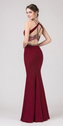 Burgundy Keyhole Bodice Mermaid Long Prom Dress