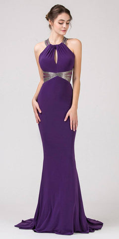 Long Off The Shoulder Metallic Fitted Prom Gown Purple Leg Slit