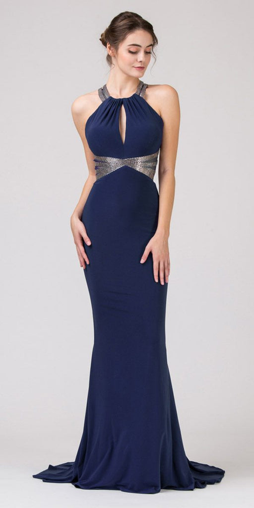 Eureka Fashion 8843 Navy Blue Keyhole Bodice Mermaid Long Prom Dress