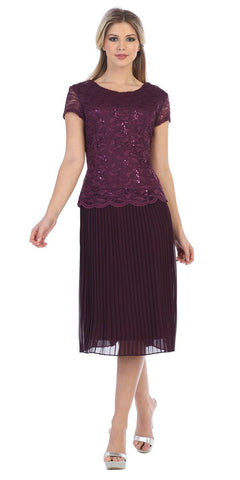 Chiffon Pleated Skirt Lace Short Sleeve Top Knee-Length Dress Plum