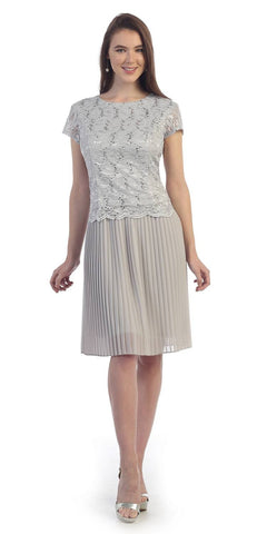 Chiffon Pleated Skirt Lace Short Sleeve Top Knee-Length Dress Silver