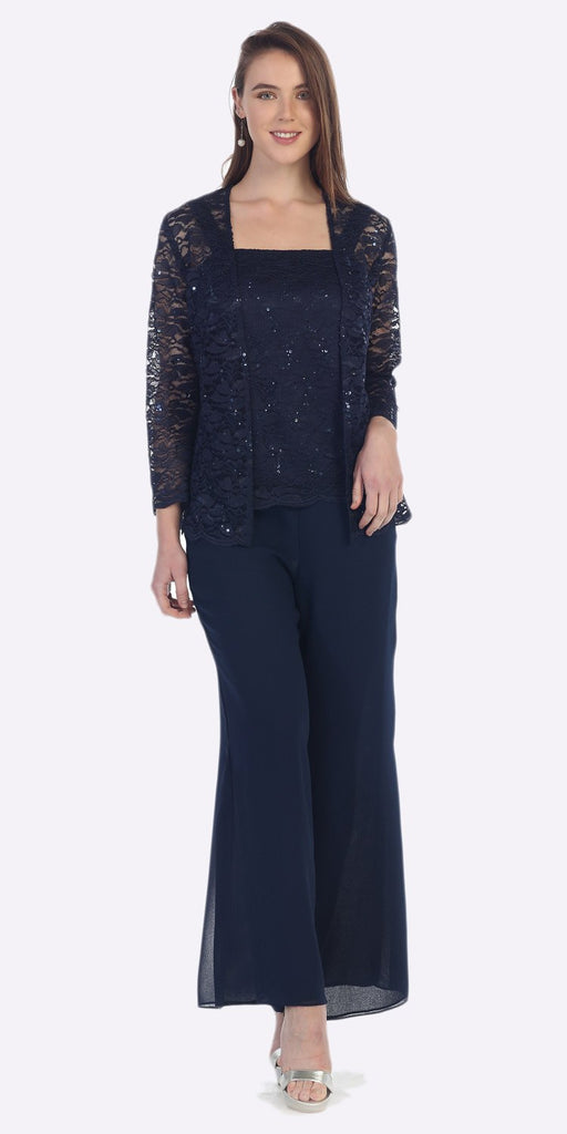 Sally Fashion 8850 Navy Blue Pant Set Includes Jacket and Top