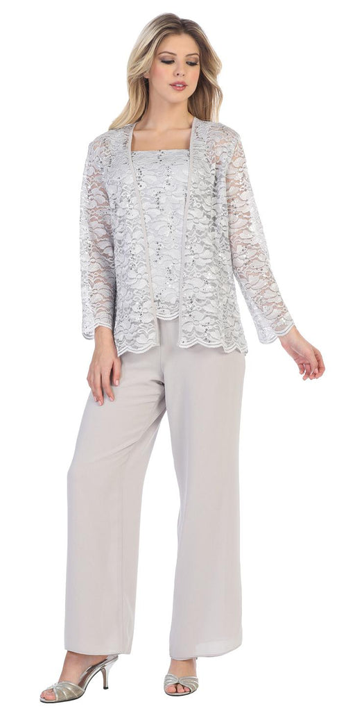 Sally Fashion 8850 Silver Pant Set Includes Jacket and Top