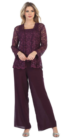 Sally Fashion 8850 Plum Pant Set Includes Jacket and Top