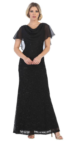 Lace Black Long Formal Dress Cowl Neck with Chiffon Short Sleeves