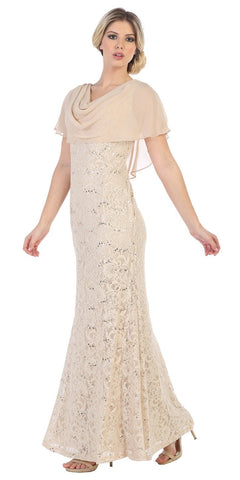 Lace Khaki Long Formal Dress Cowl Neck with Chiffon Short Sleeves