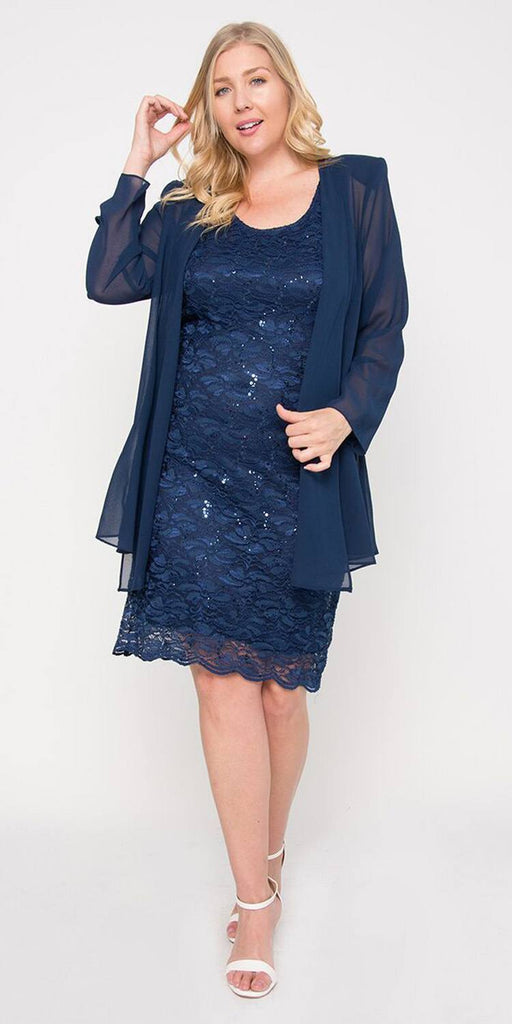 Sally Fashion 8852 Lace Knee Length Semi Formal Dress with Long Sleeve Jacket Navy Blue