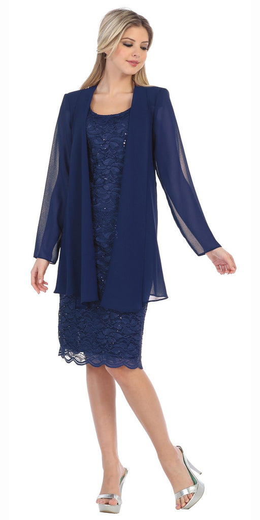 Lace Knee Length Semi Formal Dress with Long Sleeve Jacket Navy Blue