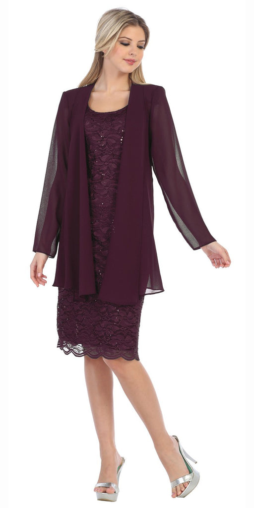 Lace Knee Length Semi Formal Dress with Long Sleeve Jacket Plum